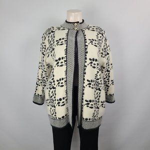 Beta's Choice Angora Animal Print Cardigan Size 1X